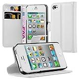 Cadorabo Funda Libro para Apple iPhone 4 / iPhone 4S en Blanco ÁRTICO - Cubierta Proteccíon con Cierre Magnético, Tarjetero y Función de Suporte - Etui Case Cover Carcasa