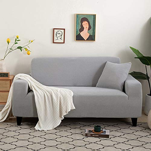 Funda de sofá de Gamuza Gris para Sala de Estar combinación de Madera Maciza Funda de sofá elástica sofá Toalla Funda de sillón decoración del hogar A11 4 plazas