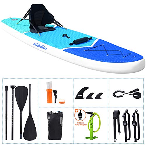 Zupapa 2020 Upgrade 10FT SUP Paddle Boards 350LBS Weight Capability with Stand Up Board Inflatable Seats 3-Year Warranty Provided