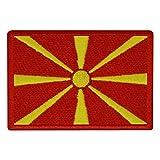 benobler FanShirts4u Aufnäher - MAZEDONIEN - Fahne - 8 x 5,5cm - Bestickt Flagge Patch Badge Wappen (rote Umrandung)
