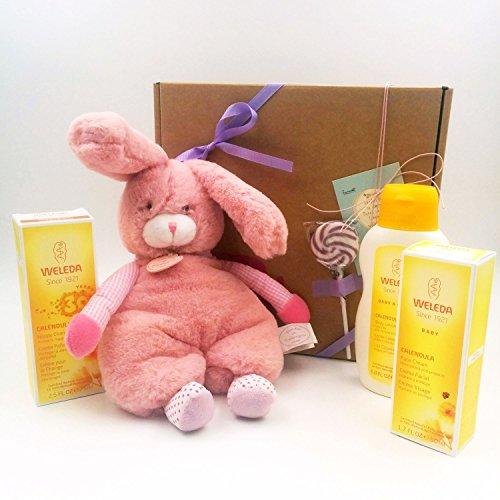 Cadeau pour bébé avec 3 produits BIO 100% naturels (ligne Calendula) et avec une peluche Doudou et Compagnie (30 cm)   Idée de cadeau de douche de bébé   Version pour filles