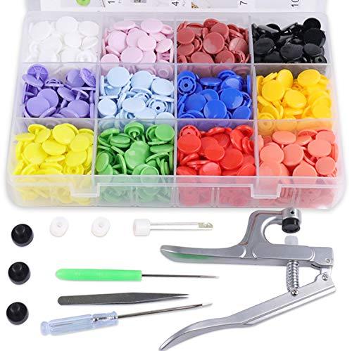 SUNTATOP Pinze a Scatto + Set 300 Bottoni in Resina T8 Bottoni a Pressione in Resina Fai da Te 12 Colori (Set di Pulsanti) inze in Metallo
