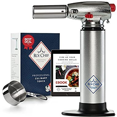 Butane Torch | Crème Brûleé Torch| Blow Torch | Safe Lock Adjustable Flame Professional Kitchen Blow Torch | Measuring Cup for Culinary Torch, Recipes eBook for Cooking Torch Delux Box for Food Torch