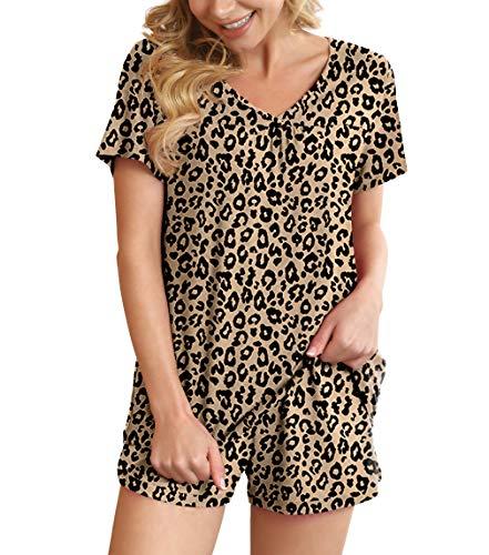 POKWAI Women's Pajamas Sets Summer Short Sleeve Sleepwear Nightwear