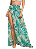 Floerns Women's Sheer Beach Swimwear Cover Up Wrap Skirt A Green Leaf XS