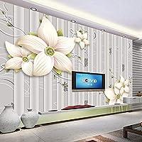 HGFHGD 粘着性の3D壁紙壁画ユリ3D三次元リビングルームテレビ背景写真ポスターウォールステッカーウォールアート