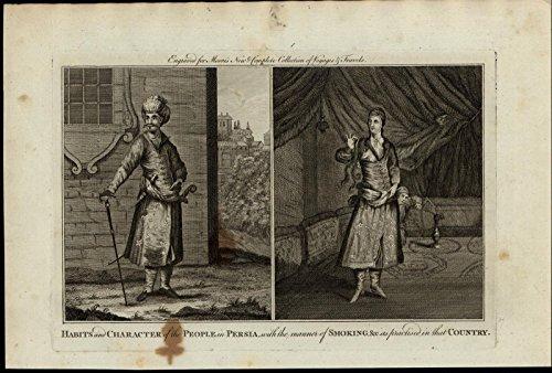 Persian Habits Fashion Hookah Smoking ca. 1780's fascinating old engraved print