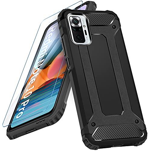 AROYI Funda Compatible con Xiaomi Redmi Note 10 Pro 4G /Note 10 Pro MAX con Protectores Pantalla Cristal Templado, Robusta Carcasa Híbrida TPU y PC de Doble Capa Anti-arañazos Caso, Negro