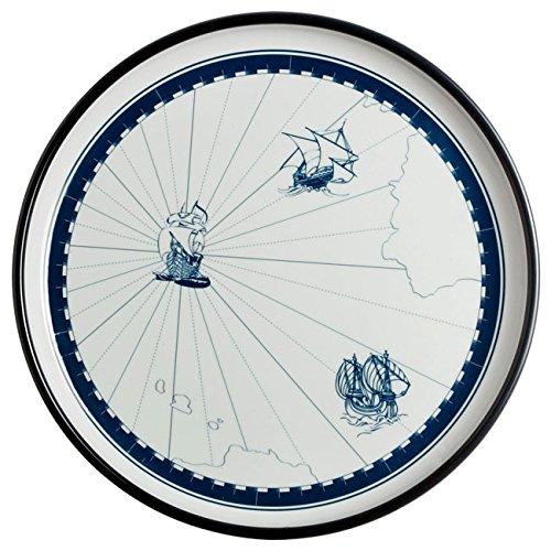 Marine Business Columbus Lot de 6 Assiettes Plates en mélamine Blanc/Bleu