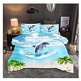 Juego de cama KFZ (1 juego de funda de edredón + 2 fundas de almohada) impresión 3D playa océano juego de cama individual individual doble King Cool diseño para niños niña niño adulto Home Textile, delfín, Double,79'x79''