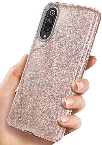 ONEFLOW Glitter Hülle kompatibel mit Xiaomi Mi 9 / Mi 9 Explorer Hülle Glitzer Stoßfest, Silikon Schutzhülle dünn, Handyhülle Diamant Strass, Glitzerhülle mit Bling Sparkle - Roségold