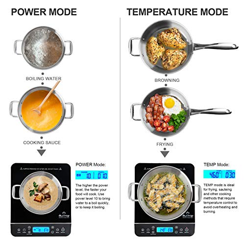 Product Image 5: Duxtop Portable Induction Cooktop, Countertop Burner Induction Hot Plate with LCD Sensor Touch 1800 Watts, Silver 9600LS/BT-200DZ