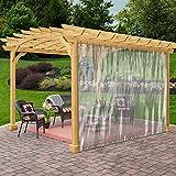 Rideau transparent étanche pour extérieur - Résistant aux intempéries - Pour pergola, porche, tonnelle, cabana/intérieur avec œillets inoxydables (2,4 x 2,4 m)