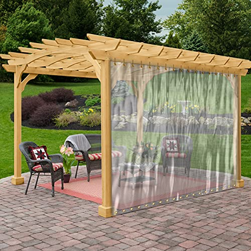 Outdoor Clear Tarp Curtain Waterproof - Weather Resistant Patio Clear Curtain for Pergola, Porch, Gazebo, Cabana / Indoor With Rustproof Grommets (4' x 7')