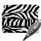 Sunbeam Electric Heated Fleece Warming Throw Blanket Zebra