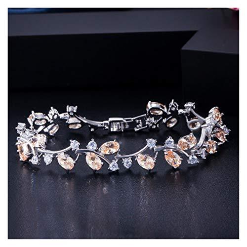 Pulsera de Las señoras Royal Color Natural Women Jewelry 925 Sterling Crystal Topap Brazalets and Bangle para el Regalo de Fiesta Bien diseñado, (Gem Color : Champagne)