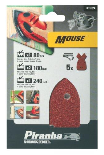 Piranha Mouse Schleifpapier Sortiment (Körnung je 2x 80, 180, 1x 240, KlettFix, 5 Stück) X31024