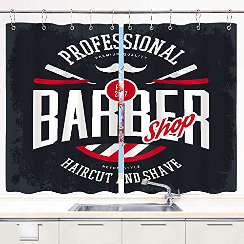 """HATESAH Kitchen Curtains,Barber Shop Sign Razors and Mustache Vintage Haircut Shaving Beard,Short Cafe Curtains for Bathroom Window Treatment 2 Panels Sets Drapes with Hooks,55"""" Wx39 L"""
