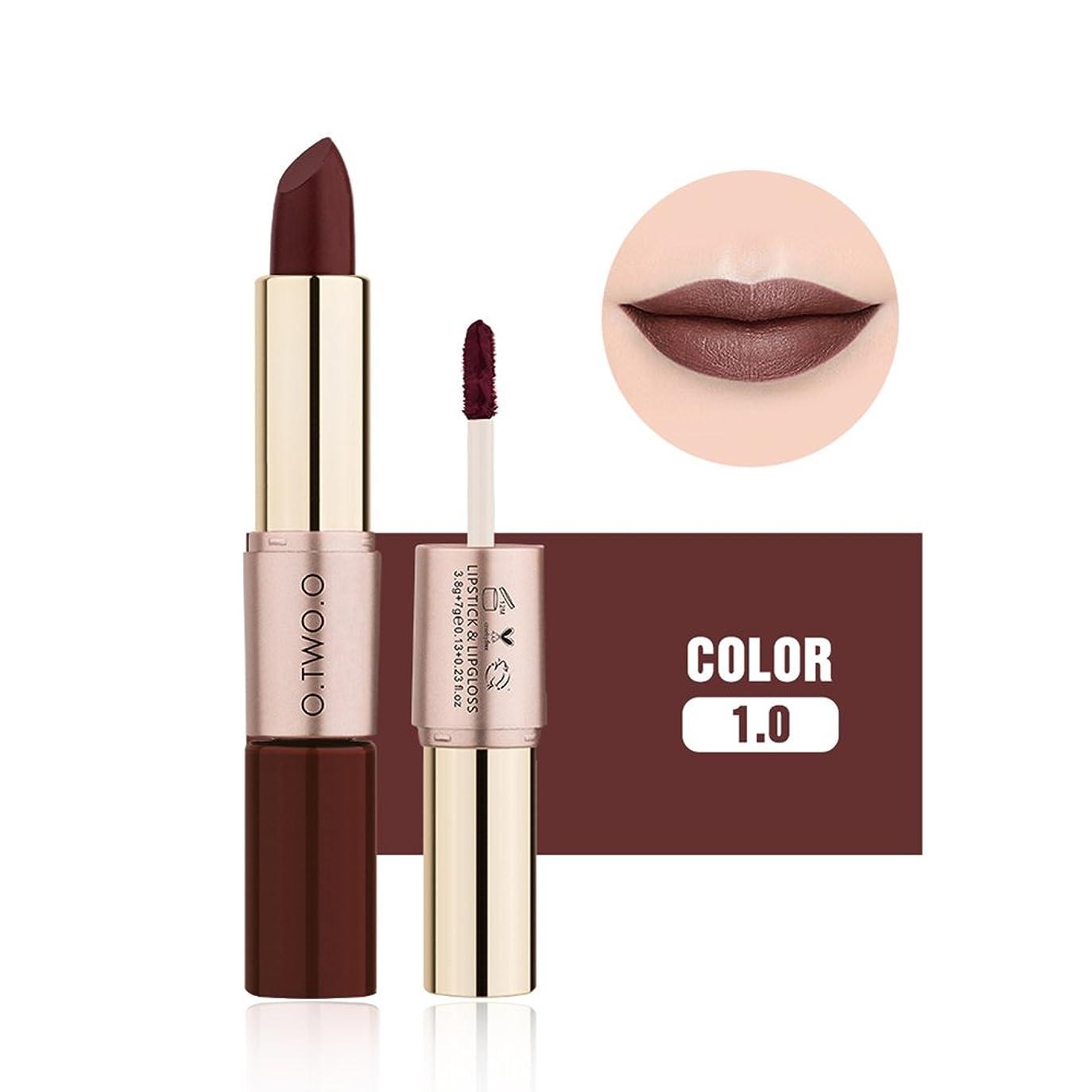 より平らな振り向く鈍いSoarUp 口紅 リップグロス 化粧品 マットリップスティック 潤い 2 in 1 12色(#10)