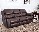 JUNTOSO Bonded Leather Sofa Recliner Living Room Reclining Sofa Furniture - Chocolate