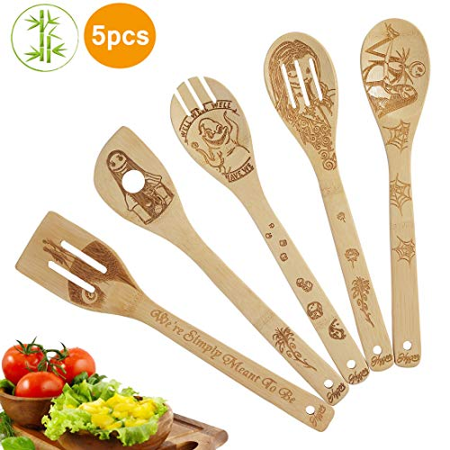 5 Piece Set Kitchen Cooking Utensils Set - Organic Bamboo Spoons Burned Wooden Spoon Turners Carved Spatulas Non-Stick-Great Gift For Chefs & Foodies (Nightmare)