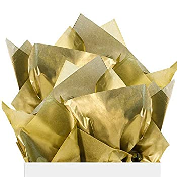 UNIQOOO 60 Sheets Metallic Gold Foil Gift Tissue Paper Bulk Large 20X26 Inch Recyclable Durable For Gift Bags Box Gift Wrapping DIY Craft Wedding Birthday Party Favor Decor Shredded Filler Pinata