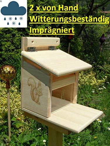 XXXL Echhörnchen Kobel/Futterhaus aus hochwertigem Vollholz, hochwertig Imprägniert, deutsches Qualitätsprodukt von Hand gefertigt im Bayerischen Wald (Premium Futterhaus imprägniert)