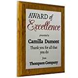 Personalized Employee Recognition Award Plaque 8x10 Coated Oak Board