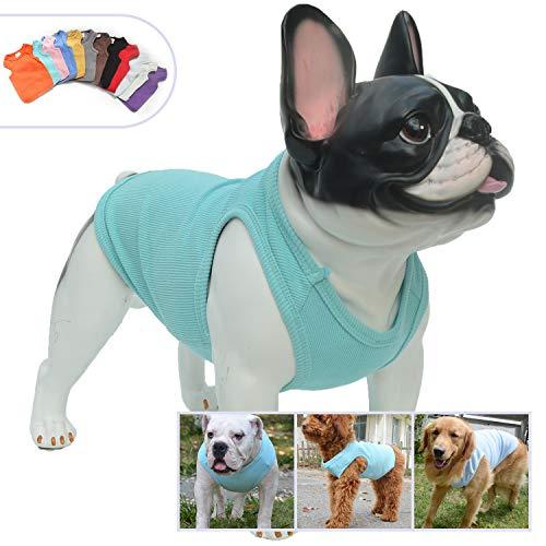 longlong Hundebekleidung, ärmelloses T-Shirt ohne Aufdruck aus gerippter Baumwolle für Sommer/Frühling, in den Größen S, M, L