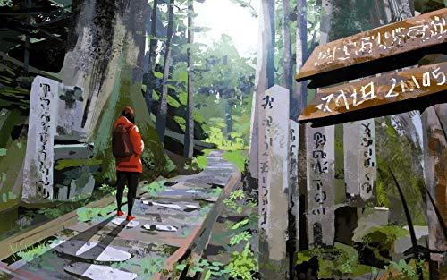 DIY Gemälde nach Zahlen Landschaft Erwachsene Kinder rahmenlose Ölgemälde Set Wohnaccessoires Traveller Lonely Art