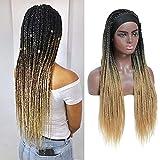 ROSEBONY Peluca trenzada con caja de peluca para mujer, color negro, microtrenzas, peluca de fibra sintética resistente al calor, peluca rubia (peluca para la cabeza, ombre1b/27)
