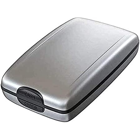 Guillala Mini RFID Aluminum Wallet Slim Design Fits In Pocket Hard Shell Business Card Holder for Bank Debit, ID, ATM, Cards Against Scanning Criminals
