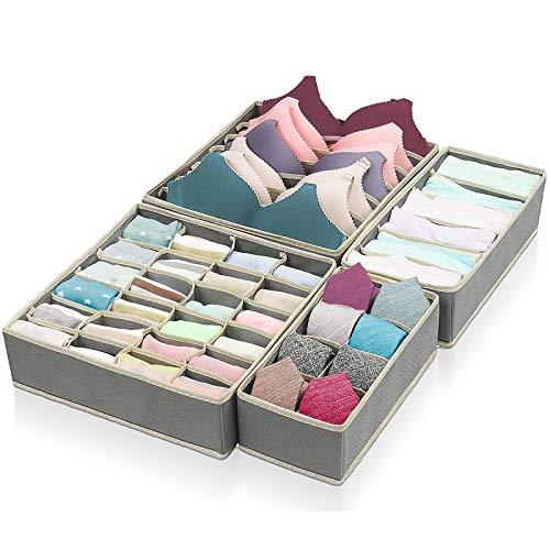 ASANMU Aufbewahrungsbox für Unterwasche, Sortierbox Kleiderschrank Organizer Ordnungssystem für Schubladen Faltbare BH Organizer Ordnungsbox Faltbox Stoffbox für Büstenhalter Socken Dessous (Grau)