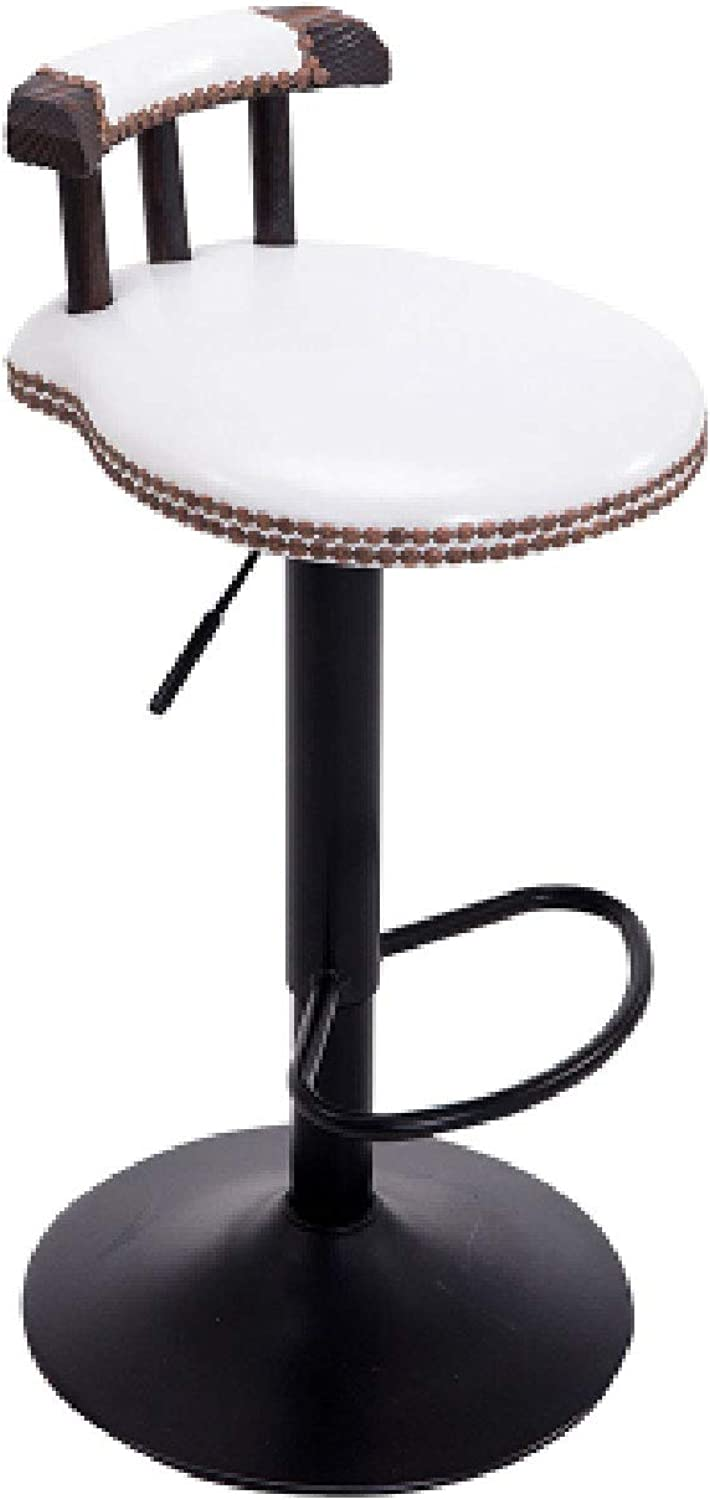 Iron Bar Stool, Retro Bar Stool, redating Lift, Home Back Stool, Can Be Raised and Lowered 75-95cm (color   White)