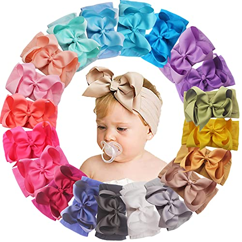 20 Colors 6 Inches Baby Girls Large Big Bows Headbands Elastic Nylon Hairbands Turban Hair Accessories for Newborns Infants Toddlers Kids