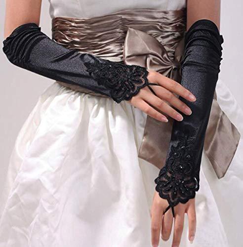HANJIAJKL Lange Hochzeitsfeier Fingerlose Braut Spitze Handschuhe/Oper Satin Handschuhe Lange Handschuhe/für Hochzeiten, Partys,A