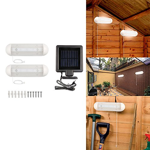 2pcs Solar-Powered LED Garden Lights, 10W 10-LED Rechargeable Wall Light Cool White with Pull Cord Switch for Garage Shed Stable Garden Courtyard