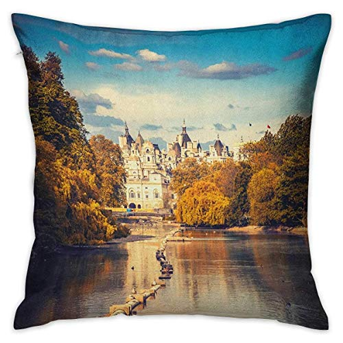 N\A London Square Travel Pillowcase Picturesque ST James Park in UK Baroque Architecture Heritage Medieval Landscape Multicolor Cushion Cases Pillowcases for Sofa Bedroom Car