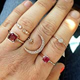 Missgrace Bohemian Dainty Simple Open Knuckle Midi Ring Set Vintage Gold Finger Stackable Moon Star Red Stone Rings Set Carved Joint Nail Rings for Women 5Pcs (Style 7)