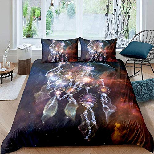 Matasuer Duvet Cover With Pillow Cases - Bohemian Glow Dream Dreamcatcher Pattern - Single (135 X 200 Cm) Quilt Cover Bedding Bedroom Set Soft Hypoallergenic Brushed Microfibre - Gift For Teens Girls