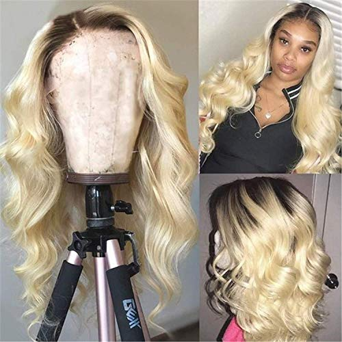 Ombre Blond Echthaar Perücke 13x4 Lace Front Perücke Brazilian Body Wave Remy Hair Dark Roots Tow Tone Ombre Perücke Real Echthaar Perückes For Women Glueless Perücke Natural Hairline 9a 18 Zoll