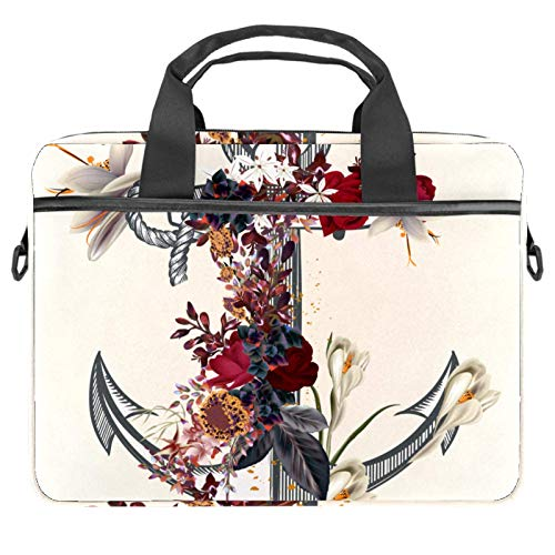 13-14.5 Inch Laptop Sleeve Case Vintage Anchor Rose Flowers Protective Cover Bag Portable Computer Notebook Carrying Case Briefcase Message Bag
