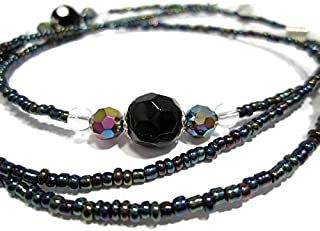 ATLanyards Black and Oil Slick Decorative Beaded Eyeglass Holder Beaded Glasses Chain