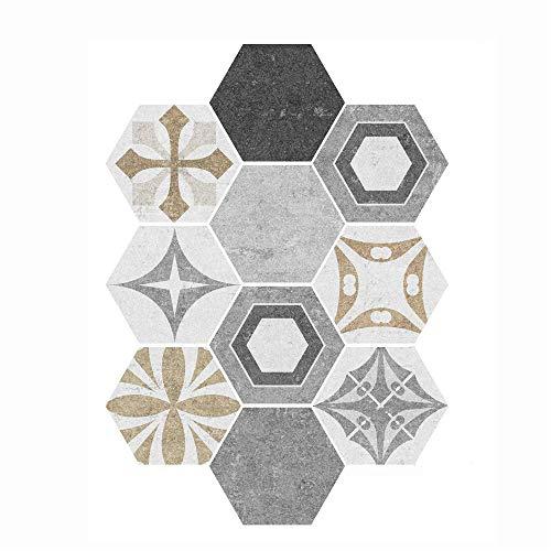 azulejos adhesivos cocina,Azulejos de cristal hexagonales extra grandes para baño, cocina y hogar pegatinas de pared antideslizantes e impermeables -001 (10 piezas)
