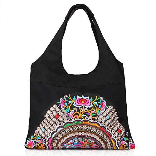 Embroidered Canvas Shoulder Bag Vintage Boho Ethnic Handbag Totes Travel Beach Bag