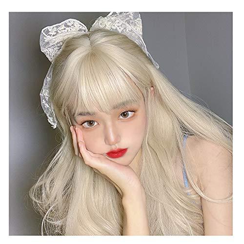 ZHIHUI Haarteile Blond Perücke Frauen Lolita Wig Pony Lange Fluty Big Welly Wigs Synthetische Haarparty Cosplay Tägliche Verwendung Perücken Damen (Color : Gold)