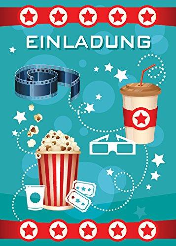 JuNa-Experten 12 Einladungskarten zum Kindergeburtstag Kino Party pink / Cinema Party / schöne und Bunte Einladungen