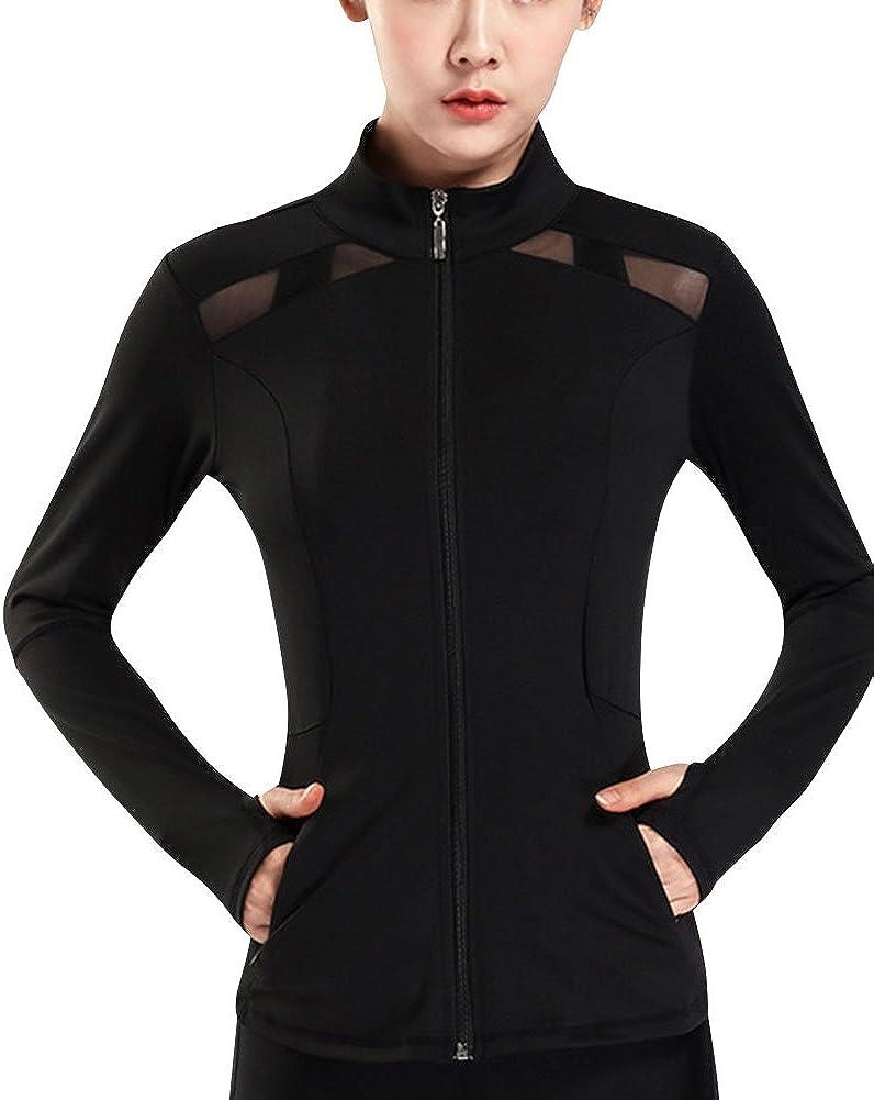 AMZSPORT Sweat /à Capuche Zipp/é pour Femmes Sweatshirts de Fitness Veste Sport avec Poches