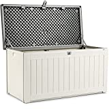 Multigot Deck Box, Outdoor Storage Containers with Handles & Lockable Lid, Garden Storage Box for Yard, Living Room & Balcony