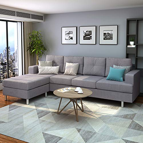Harper & Bright Designs Modern with Chaise Lounge for Living Room L Shape Home Furniture 4 Seat(Grey), without storage ottoman, Type1